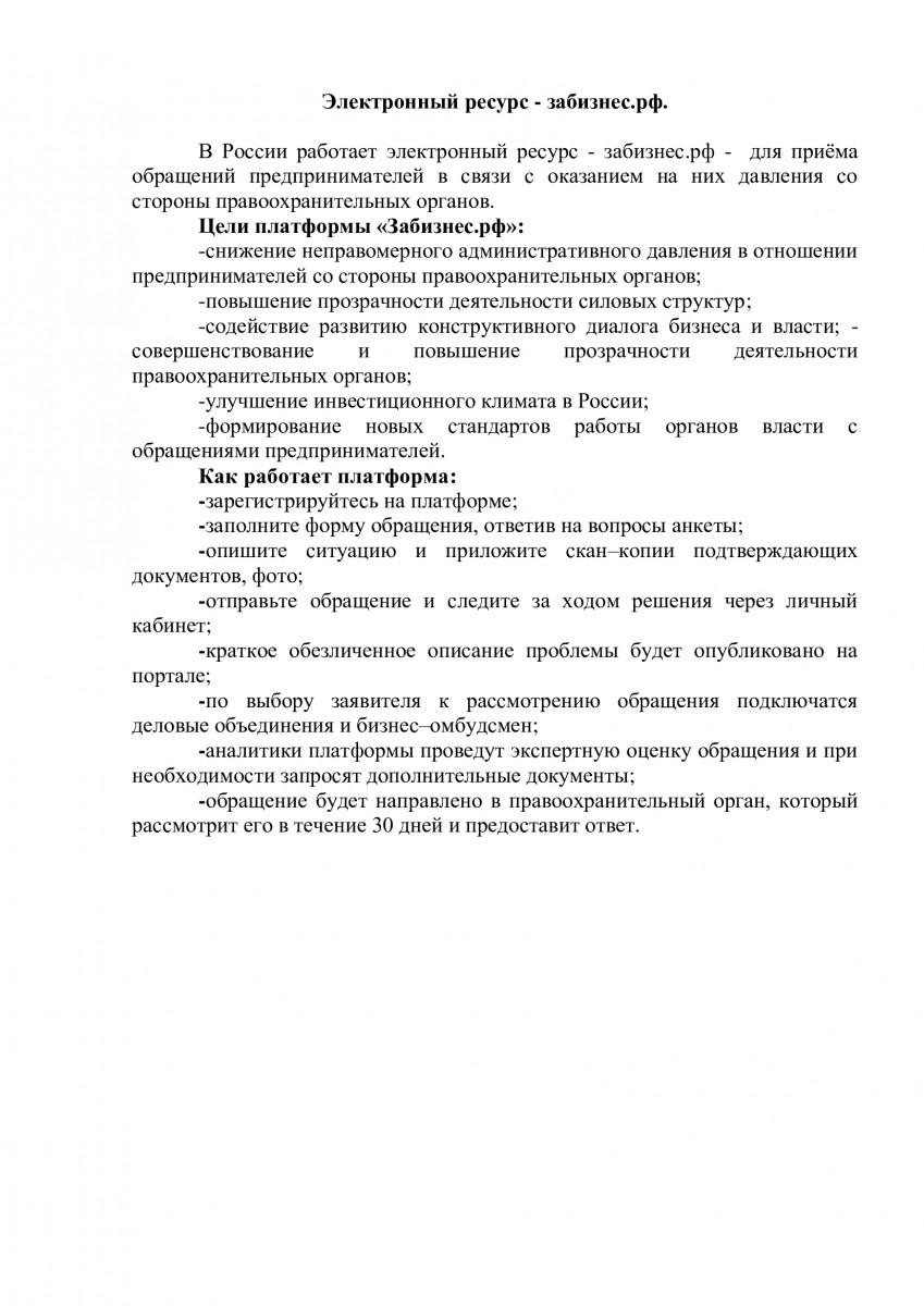 Электронный ресурс - забизнес.рф.